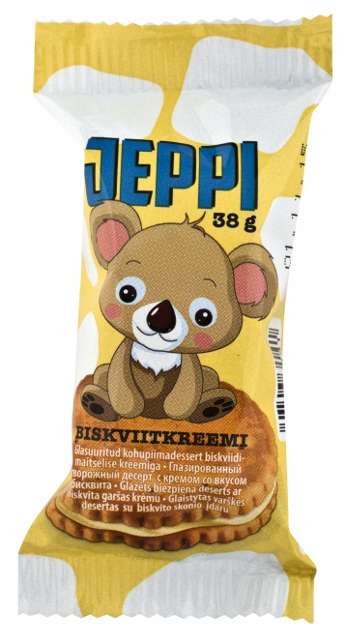 Jeppi glazed curd snack with vegetable fats and biscuit filling